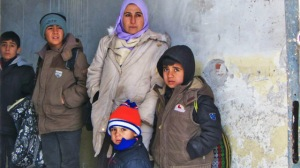 A Syrian family at Harmanli refugee reception centre, near the Bulgaria-Turkey border
